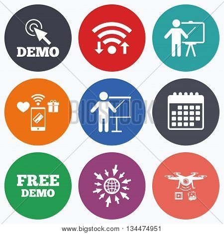 Wifi, mobile payments and drones icons. Demo with cursor icon. Presentation billboard sign. Man standing with pointer symbol. Calendar symbol.