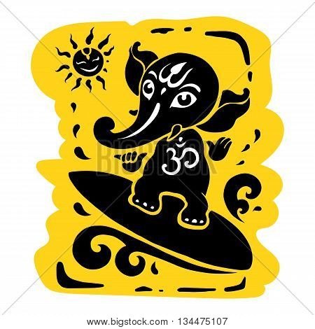 Ganpati, Hindu God Ganesha. Vector hand drawn illustration