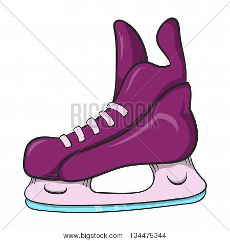 Ice hockey skates icon in cartoon style on a white background