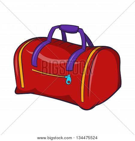 Red sports bag icon in cartoon style on a white background