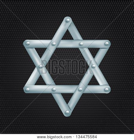 metallic Star of David on grid background. vector illustration