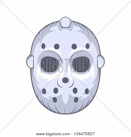 Hockey goalie mask icon in cartoon style on a white background