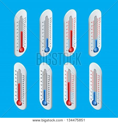 Outdoor Thermometer. Hot and cold temperature. Flat 3d vector isometric illustration.