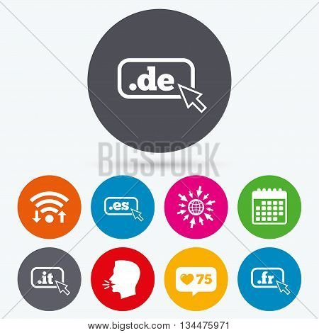 Wifi, like counter and calendar icons. Top-level internet domain icons. De, It, Es and Fr symbols with cursor pointer. Unique national DNS names. Human talk, go to web.