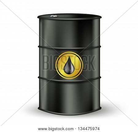black oil barrel with petrol drop sign. vector illustration
