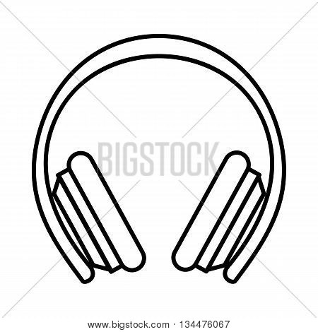 Protective headphones icon in outline style isolated on white background