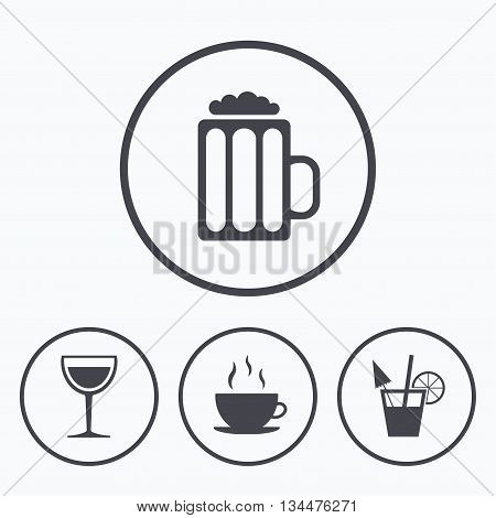 Drinks icons. Coffee cup and glass of beer symbols. Wine glass and cocktail signs. Icons in circles.