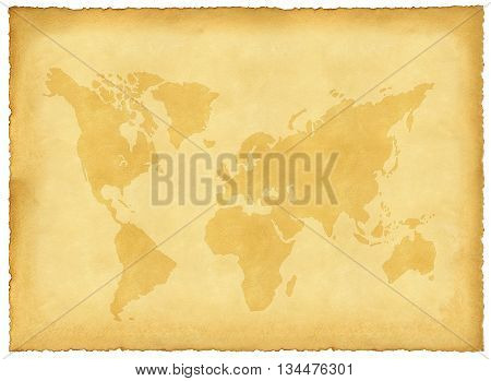 Sheet of old yellowed paper with torn edges and printed world map
