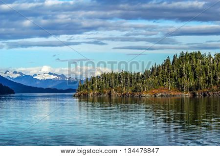 Mountains glaciers forests in Prince William Sound Alaska