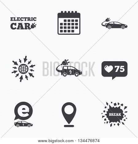 Calendar, like counter and go to web icons. Electric car icons. Sedan and Hatchback transport symbols. Eco fuel vehicles signs. Location pointer.