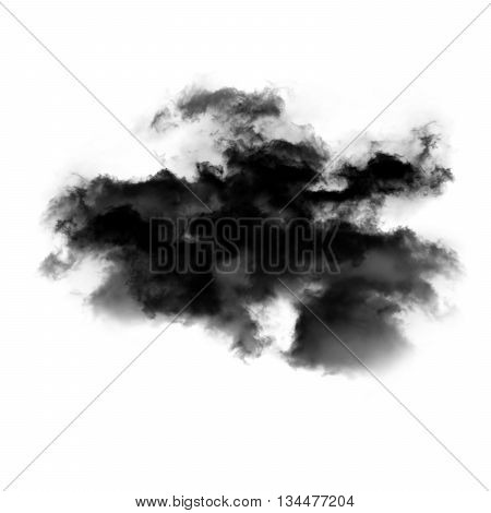Abstract smoke cloud shape isolated over white background
