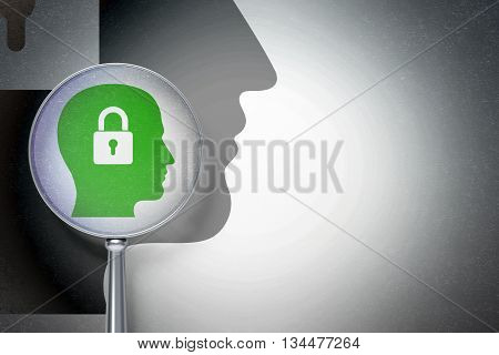 Information concept: magnifying optical glass with Head With Padlock icon on digital background, empty copyspace for card, text, advertising, 3D rendering