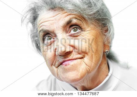 Old woman smile face on white background. Grandmother