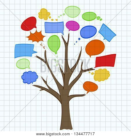 tree with speech bubbles on sheet of paper