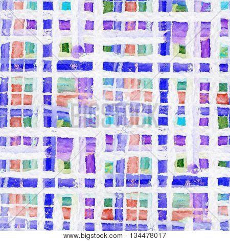 Tartan fabric texture. Seamless pattern. Watercolor illustration.