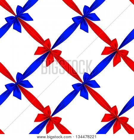 Red and blue ribbons and bows grid seamless pattern background isolated on white. Vector illustration