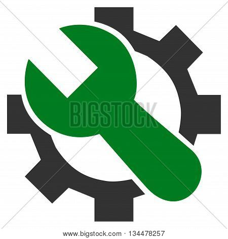 Hardware Maintenance vector icon. Style is bicolor flat icon symbol, green and gray colors, white background.