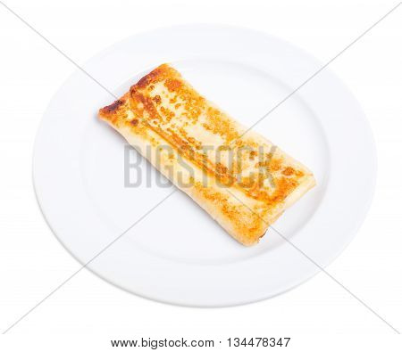 Russian pancake stuffed with salted cottage cheese. Isolated on a white background.