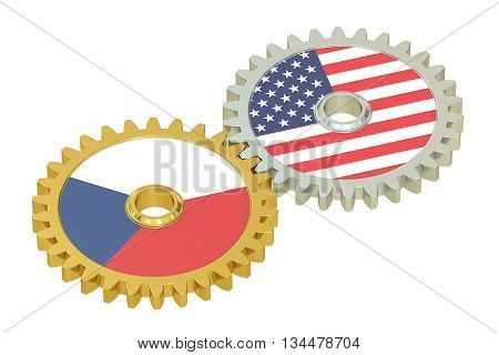 Czech Republic and USA flags on a gears 3D rendering