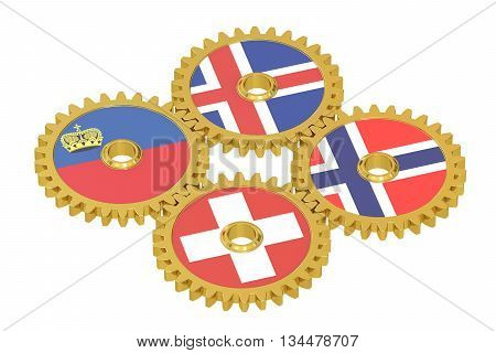 European Free Trade Association EFTA concept on a gears 3D rendering