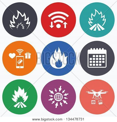 Wifi, mobile payments and drones icons. Fire flame icons. Heat symbols. Inflammable signs. Calendar symbol.