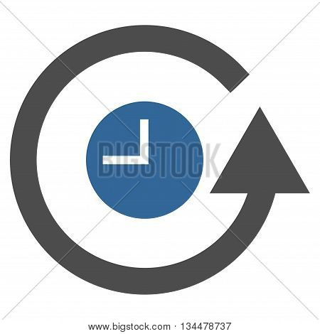 Restore Clock vector icon. Style is bicolor flat icon symbol, cobalt and gray colors, white background.