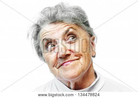 Old grandmother smile face on white background
