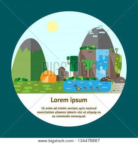 Eco-tourism. Mountains landscape and camping Eco flat vector illustrations. Can be used for flyers postcards banners etc.