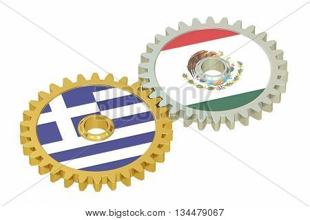 Mexico and Greece flags on a gears 3D rendering isolated on white background
