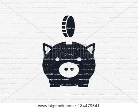 Banking concept: Painted black Money Box With Coin icon on White Brick wall background