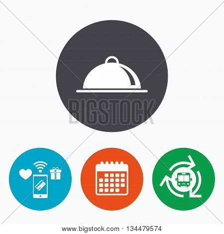 Food platter serving sign icon. Table setting in restaurant symbol. Mobile payments, calendar and wifi icons. Bus shuttle.