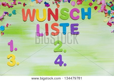 Colorful Letters And Confetti, German Word, Wish List