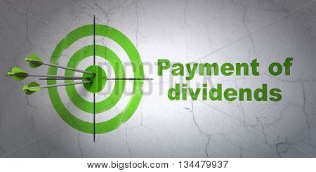 Success banking concept: arrows hitting the center of target, Green Payment Of Dividends on wall background, 3D rendering
