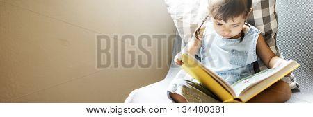 Girl Book Casual Home Kindergarten Offspring Concept