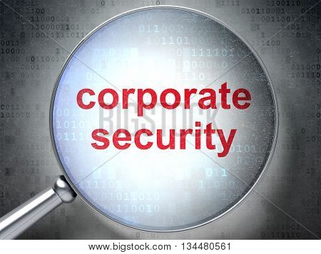 Safety concept: magnifying optical glass with words Corporate Security on digital background, 3D rendering