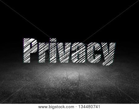 Security concept: Glowing text Privacy in grunge dark room with Dirty Floor, black background