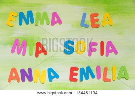 Colorful Letters, Different Favorite Maiden Names
