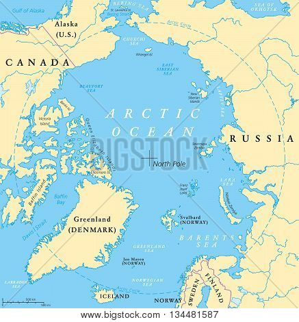 Arctic Ocean map with North Pole and Arctic Circle. Arctic region map with countries, national borders, rivers and lakes. Map without sea ice. English labeling and scaling.
