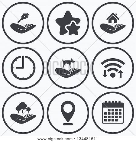 Clock, wifi and stars icons. Helping hands icons. Shelter for dogs symbol. Home house or real estate and key signs. Save nature forest. Calendar symbol.
