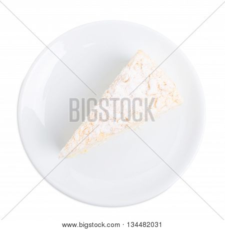 Russian Napoleon cake. Isolated on a white background.