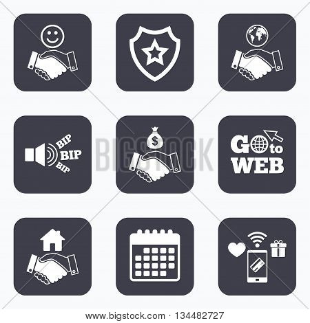Mobile payments, wifi and calendar icons. Handshake icons. World, Smile happy face and house building symbol. Dollar cash money bag. Amicable agreement. Go to web symbol.