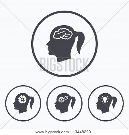 Head with brain and idea lamp bulb icons. Female woman think symbols. Cogwheel gears signs. Icons in circles.