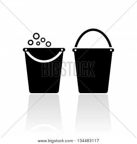 Bucket vector icon isolated on white background