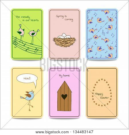 Set of 6 colorful cards with cute birds. Vector design template.