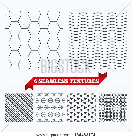 Diagonal lines, waves and geometry design. Hex lines grid texture. Stripped geometric seamless pattern. Modern repeating stylish texture. Material patterns.