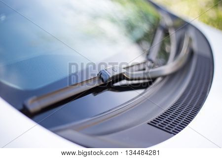 Close Up Of Car Windshield Wipers