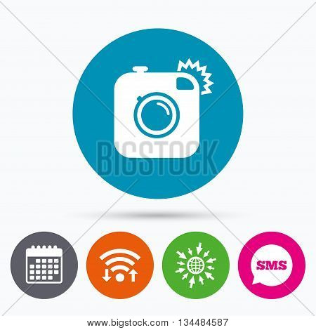 Wifi, Sms and calendar icons. Hipster photo camera sign icon. Retro camera with flash symbol. Go to web globe.