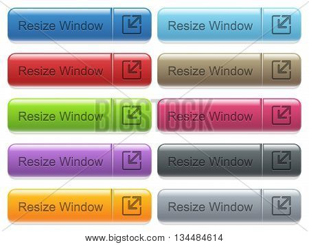 Set of resize window glossy color captioned menu buttons with engraved icons