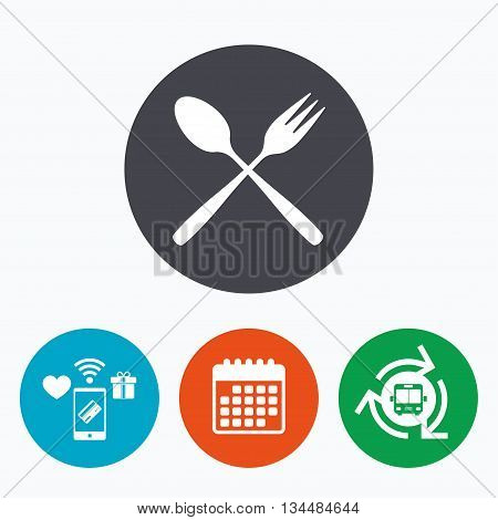 Eat sign icon. Cutlery symbol. Dessert fork and teaspoon crosswise. Mobile payments, calendar and wifi icons. Bus shuttle.
