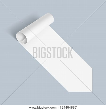 Illustration of White Paper Notepad with Bended Coner on Blue